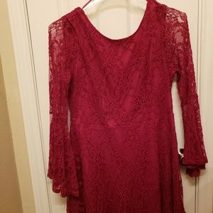 Dark red lace cocktail dress
